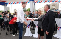 "Dusan Borkovic at the ceremonial opening of NIS Petrol station ""ČAČAK 1″ - A champion reception in Čačak"