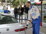 Dušan Borković surprised his fellow Pancevo citizens being a petrol station attendant - Serbian race car driver promoted NIS Petrol company's new fuel